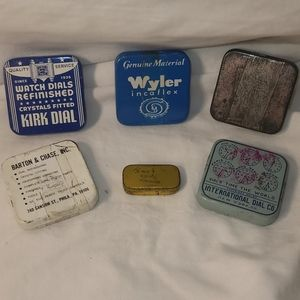 Vintage Small Metal Watch Maker Containers